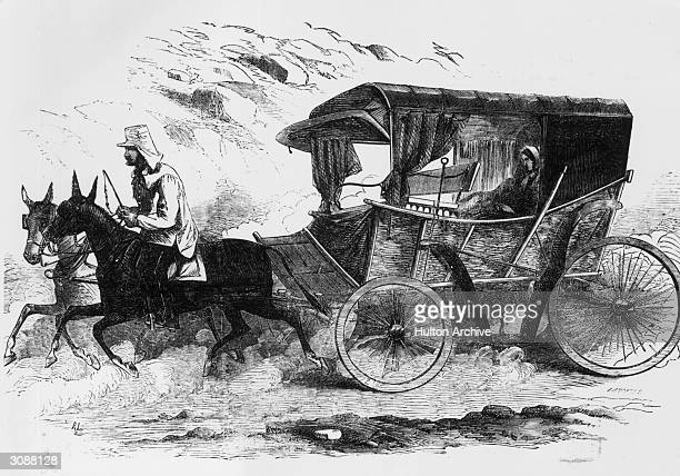 British nurse Florence Nightingale driving in her carriage in the Crimea. She was responsible for reforming the hospitals and nursing techniques at...