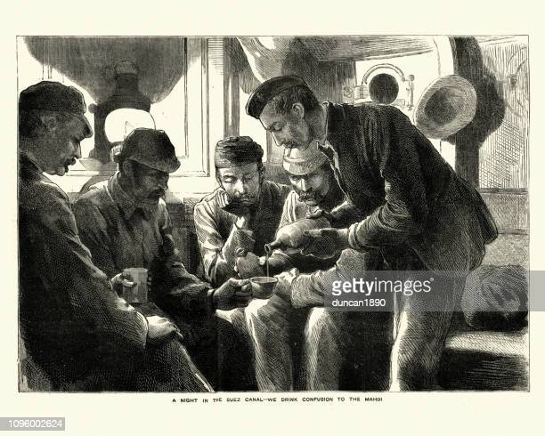 british officers heading for sudan drinking on board ship, 1884 - rum stock illustrations, clip art, cartoons, & icons