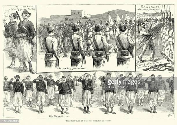英国の役員が研修のエジプトの植民地兵士 1884 - トレーニングキャンプ点のイラスト素材/クリップアート素材/マンガ素材/アイコン素材