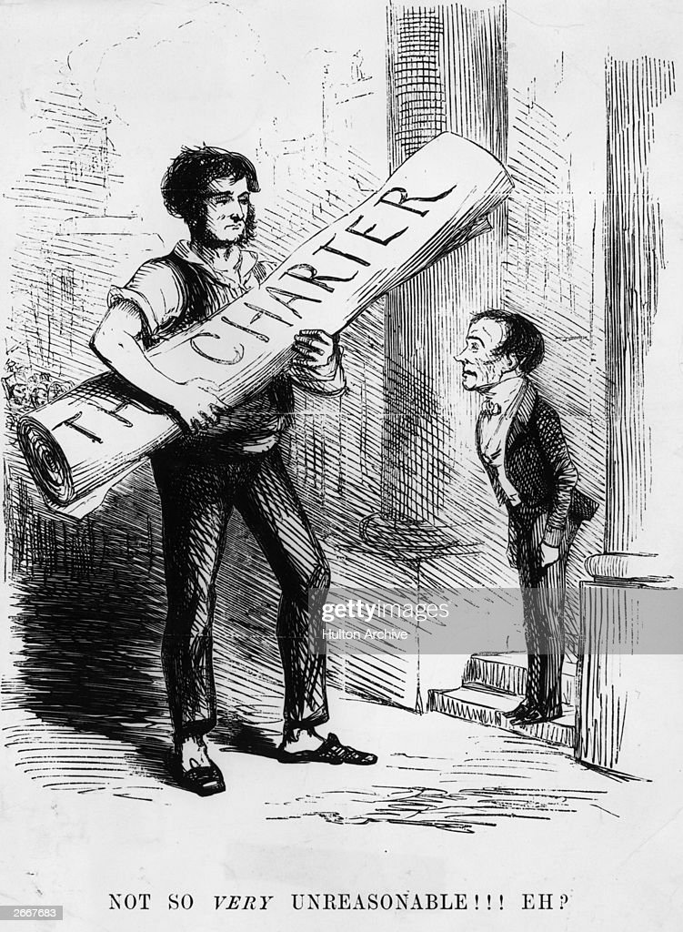 British prime minister John Russell (1792 - 1878) greets a man who arrives with a bill from the Chartist Movement, a British movement demanding certain electoral reforms. Original Artwork: A cartoon from Punch magazine.