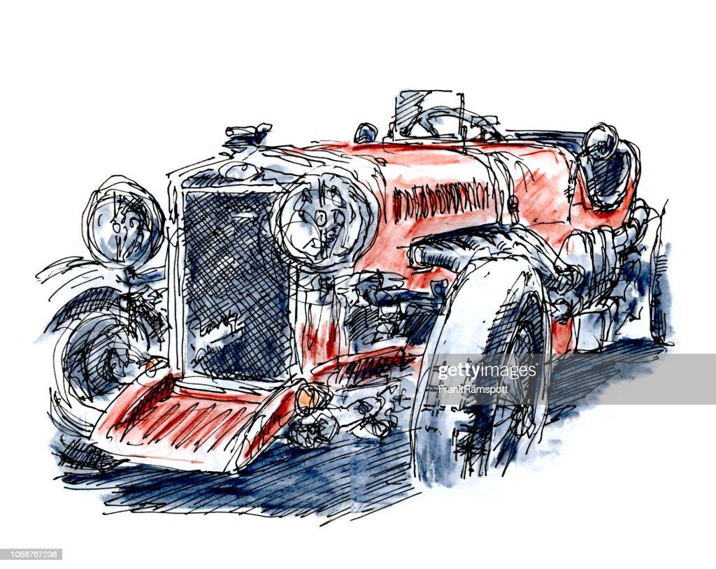 Britische Rote klassische Rennwagen Tinte, Zeichnung und Aquarell : Stock-Illustration