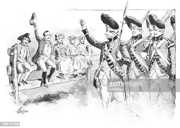 ilustraciones, imágenes clip art, dibujos animados e iconos de stock de british redcoats waving to american loyalist children - american revolution