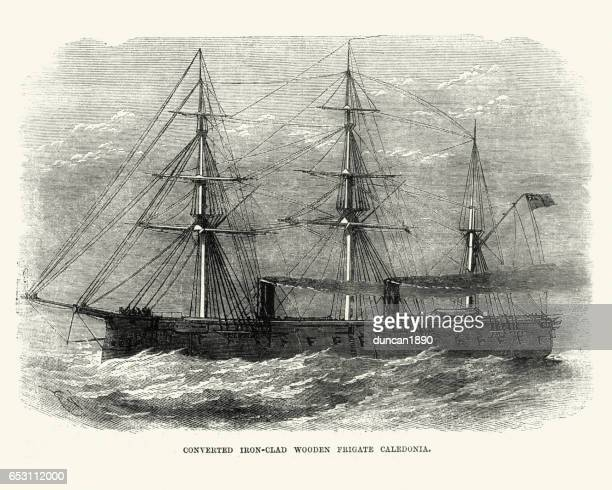 british royal navy warship hms caledonia (1862) - us navy stock illustrations, clip art, cartoons, & icons