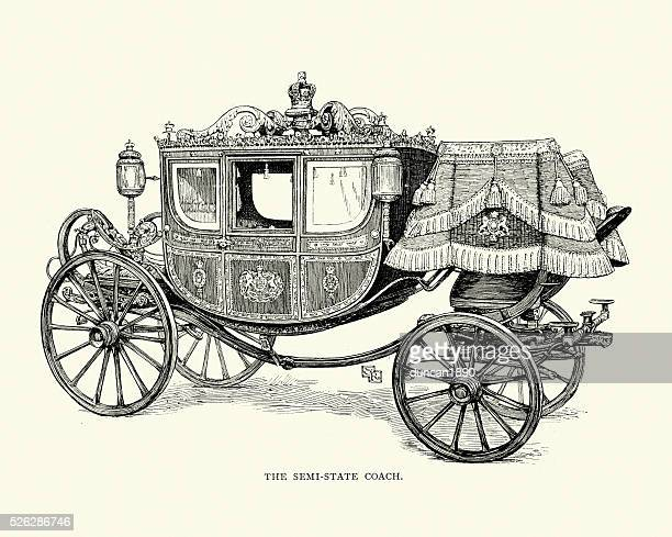 british royal semi state horsedrawn carriage, 19th century - carriage stock illustrations
