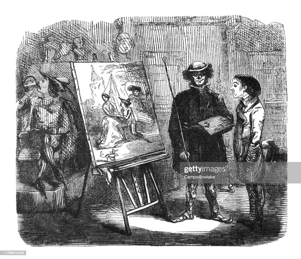 British satire comic cartoon caricatures illustrations - Artist and patron looking at a painting on an easle : Stock Illustration