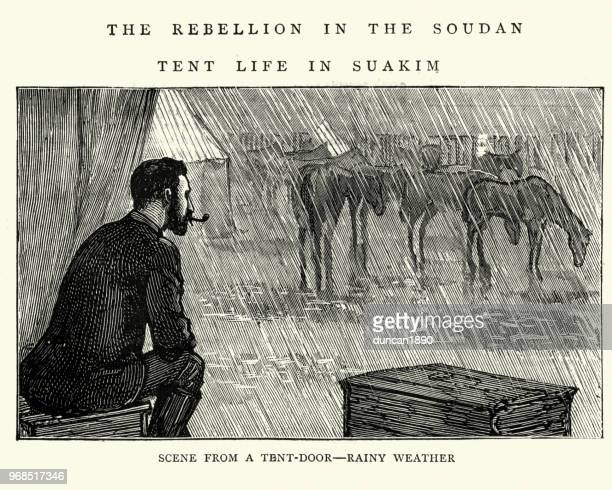 british soldier in tent during rebellion in sudan, 1884 - monsoon stock illustrations, clip art, cartoons, & icons