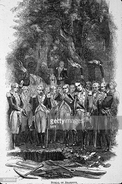 British soldiers attend the funeral of Edward Braddock commander in chief of the British forces in North America during the French and Indian War...
