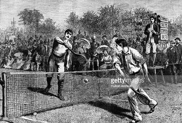 British tennis player William Renshaw and H F Lawford playing for the Men's Singles Title at Wimbledon which Renshaw won Original Publication The...