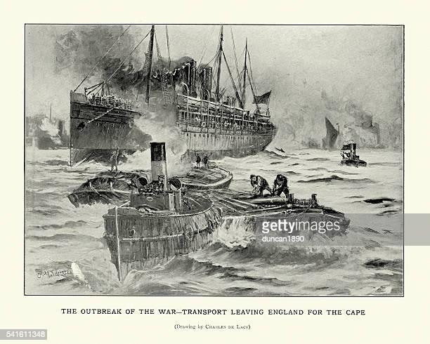 英国トゥループ船を付け、南アフリカ、1899 年