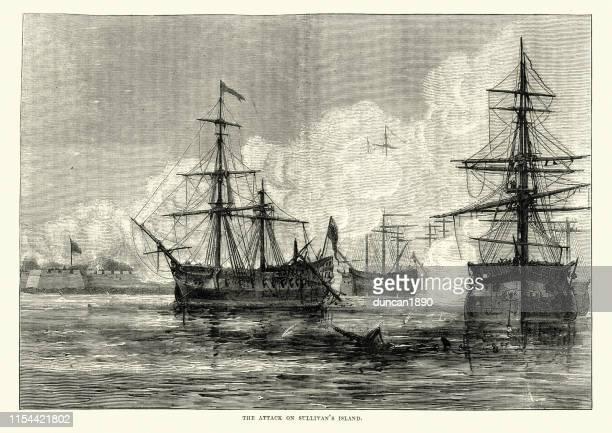 ilustrações, clipart, desenhos animados e ícones de navios de guerra britânicos, battle of sullivan ' s island, american revolucionária war - american revolution