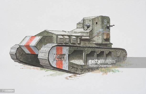 british whippet army tank, side view. - ww1 tank stock illustrations