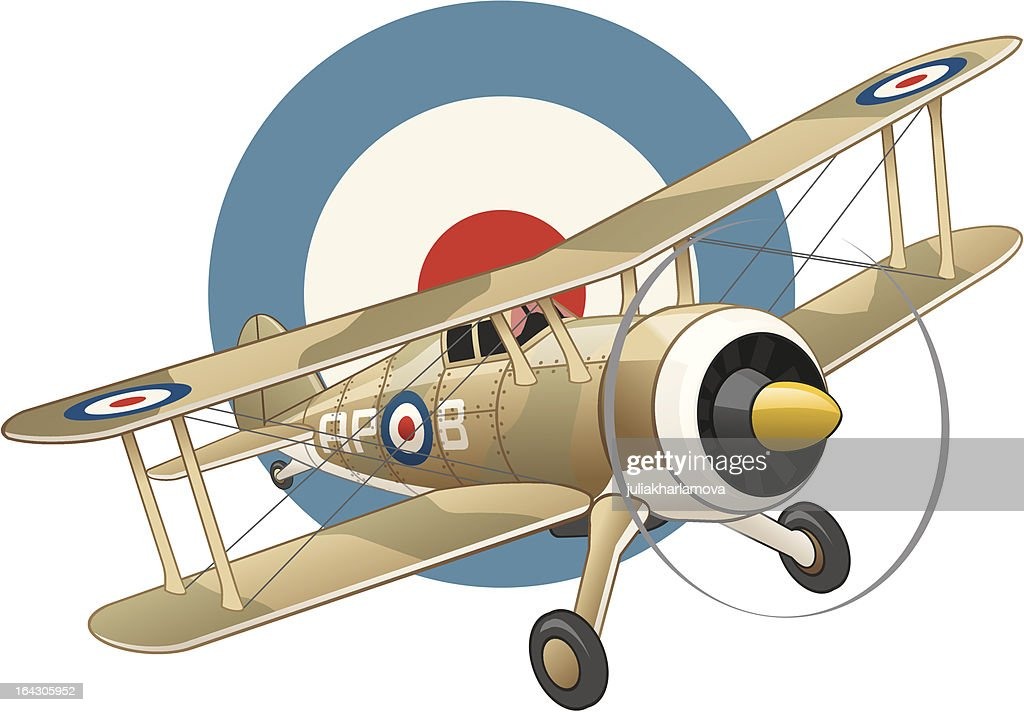 British WW2 plane on air force insignia background