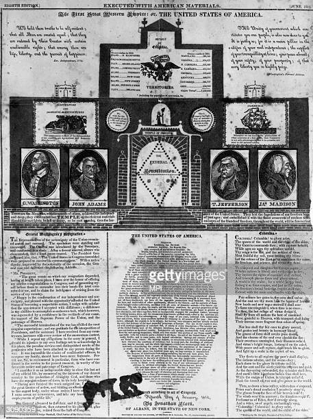 A broadside celebrating the founding of the United States of America or 'The First Great Western Empire' The article contains four portraits of...