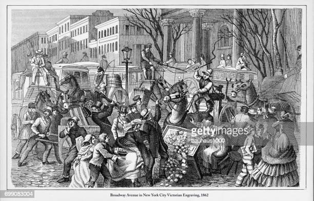 Broadway Avenue i New York City viktorianska gravyr, 1862