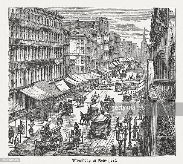 broadway in new york city, wood engraving, published in 1882 - industrial revolution stock illustrations
