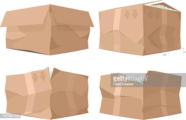 broken boxes - damaged stock illustrations