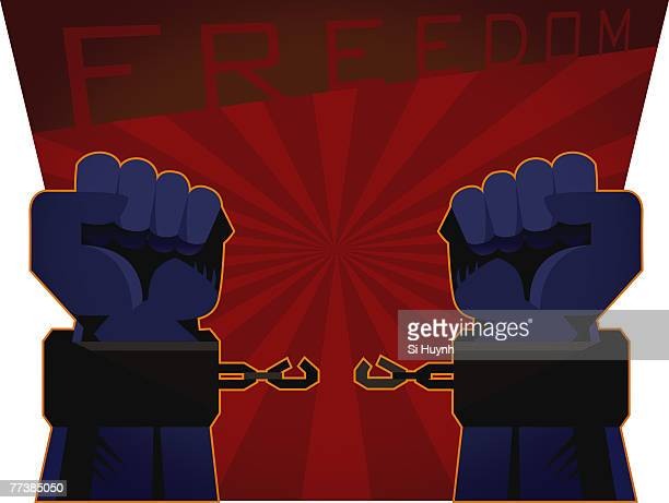 broken chain link of handcuffs on a pair of hands - sexual fetish stock illustrations, clip art, cartoons, & icons