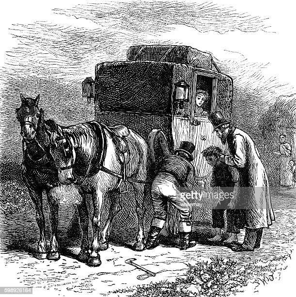 Broken down Victorian horse drawn coach