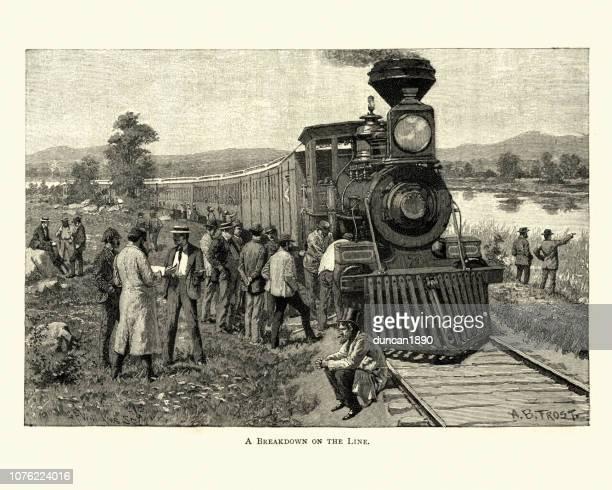 broken down wild west steam train, 19th century - 19th century stock illustrations