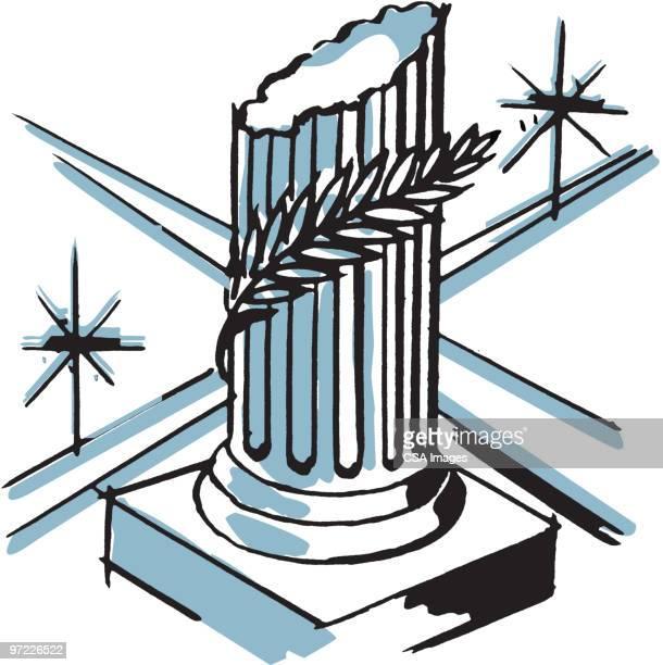 broken greek column with olive branch - greek culture stock illustrations