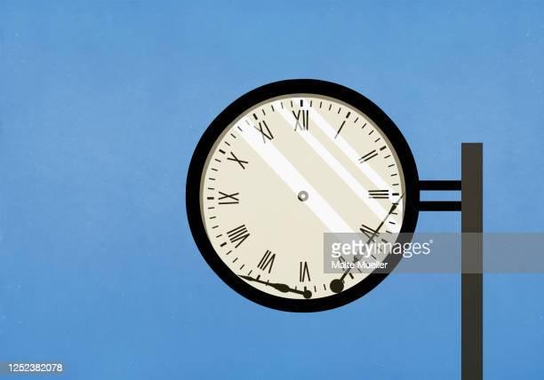 broken hands of clock - deadline stock illustrations