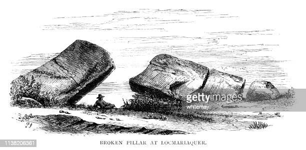 broken megalith at locmariaquer, brittany, france - megalith stock illustrations, clip art, cartoons, & icons