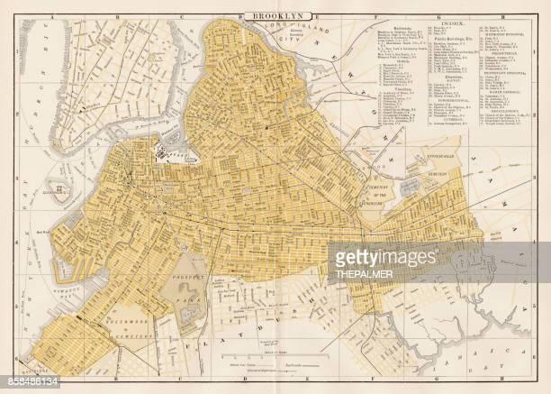 broklyn city map 1893 - brooklyn new york stock illustrations, clip art, cartoons, & icons