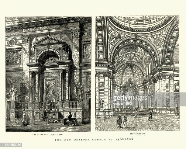 brompton oratory church, 1884, 19th century, altar and sanctuary - chapel stock illustrations, clip art, cartoons, & icons