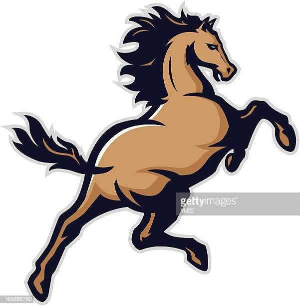bronco mascot - mustang wild horse stock illustrations, clip art, cartoons, & icons