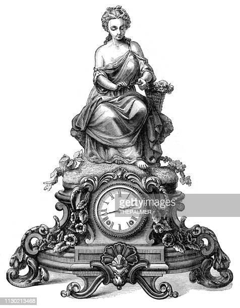 Bronze old clock engraving 1868
