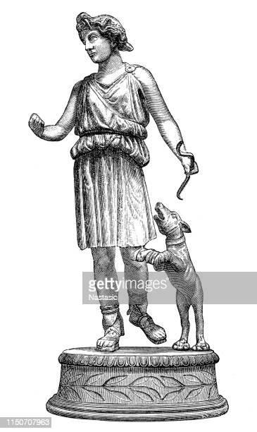 bronze statue of diana, lyon - roman goddess stock illustrations, clip art, cartoons, & icons