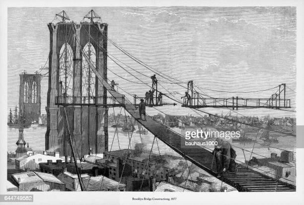 brooklyn bridge construction victorian engraving, 1877 - bridge built structure stock illustrations