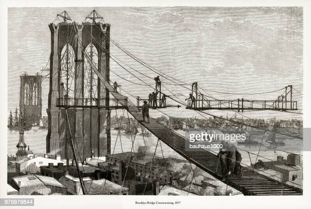 brooklyn bridge construction victorian engraving, 1877 - brooklyn bridge stock illustrations, clip art, cartoons, & icons