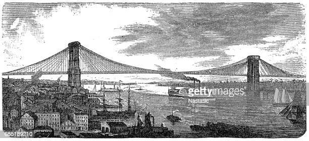 brooklyn bridge from 1878 - brooklyn bridge stock illustrations, clip art, cartoons, & icons