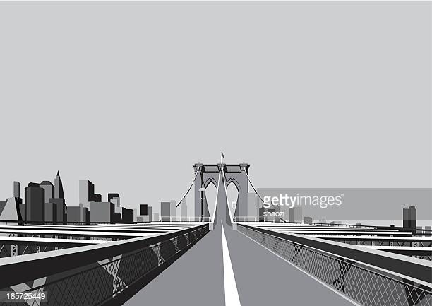 brooklyn bridge - brooklyn bridge stock illustrations, clip art, cartoons, & icons