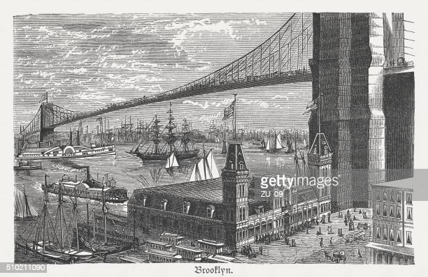 brooklyn bridge, new york city, wood engraving, published 1880 - brooklyn bridge stock illustrations, clip art, cartoons, & icons