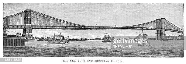 brooklyn bridge new york engraving 1895 - brooklyn bridge stock illustrations, clip art, cartoons, & icons