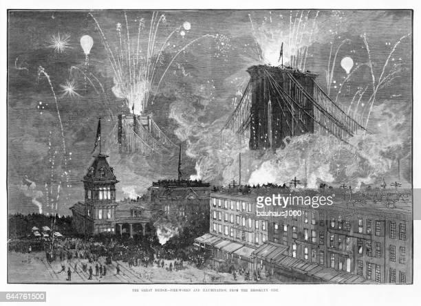 brooklyn bridge opening celebration victorian engraving, 1880 - brooklyn new york stock illustrations, clip art, cartoons, & icons