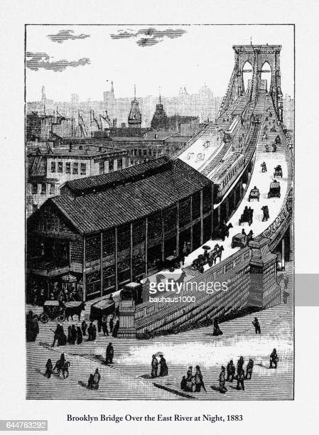 brooklyn bridge victorian engraving, 1877 - brooklyn bridge stock illustrations, clip art, cartoons, & icons
