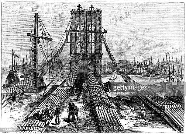 Brooklyn Suspension Bridge New York USA cable anchorage on the Brooklyn shore 1883 Designed by John Augustus Roebling who died of Tetanus sixteen...