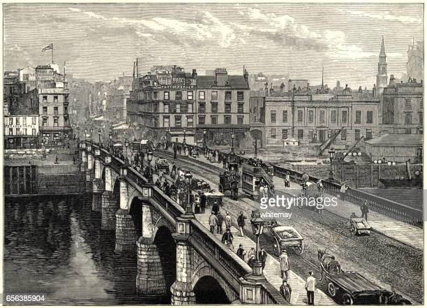 broomielaw bridge, glasgow (victorian engraving) - clyde river stock illustrations, clip art, cartoons, & icons