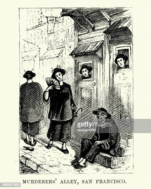 brothels on murderers alley, san francisco, 19th century - prostitution stock illustrations, clip art, cartoons, & icons