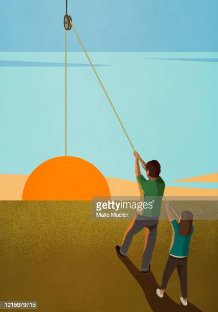 brother and sister hoisting sunrise on pulley - rear view stock illustrations