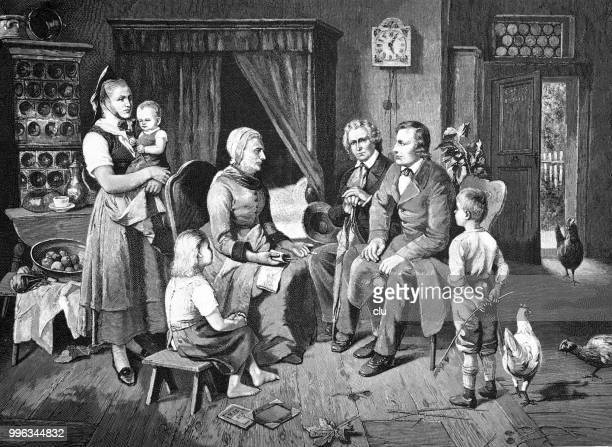 Brothers Jakob and Wilhelm Grimm with a storyteller