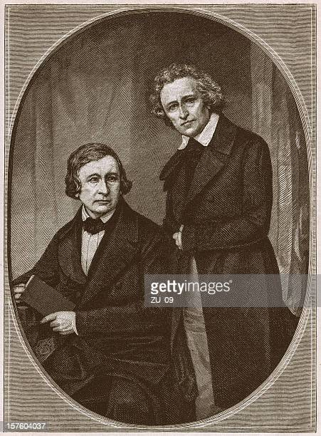 Brothers Wilhelm and Jacob Grimm, wood engraving, published in 1879