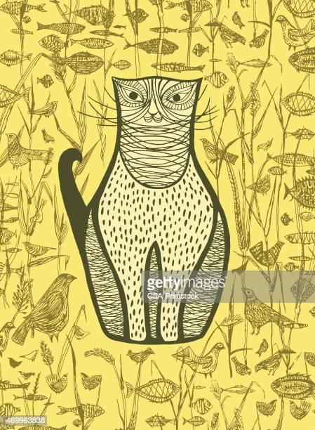 brown cat; fish; birds - cat food stock illustrations