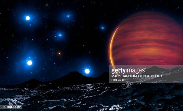brown dwarf in pleiades, illustration - planet space stock illustrations