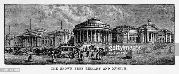 brown library and museum, liverpool, england victorian engraving, 1840 - corinthian stock illustrations, clip art, cartoons, & icons
