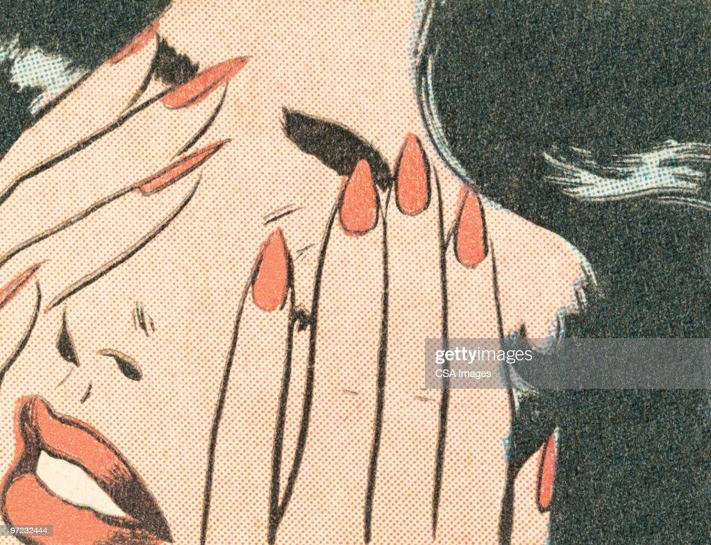 Brunette covering her eyes : Ilustración de stock
