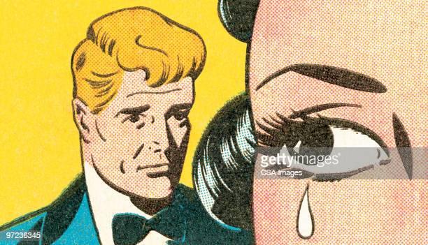 brunette crying - teardrop stock illustrations